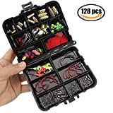 Oak-Pine 128Pcs/Set Fishing Accessories Set Carp Catfish Freshwater Saltwater Fishing Tackle Box - Hooks, Swivels, Double Loops, Spinners, Luminous Balls, Leaders, Line Stoppers, Jig Heads, Etc