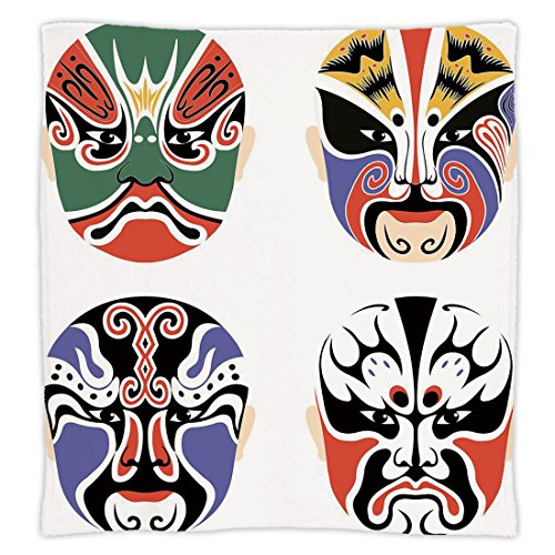 Super Soft Throw Blanket Custom Design Cozy Fleece Blanket,Kabuki Mask Decoration,Traditional Chinese Cultural Opera Mask Set Collection Asian Tribal Decorative,Multicolor,Perfect for Couch Sofa or Be (Opera Chinese Masks Design)