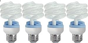 GE Lighting 62906 Reveal Spiral CFL 13-Watt (60-watt replacement) 800-Lumen T3 Spiral Light Bulb with Medium Base, 4-Pack