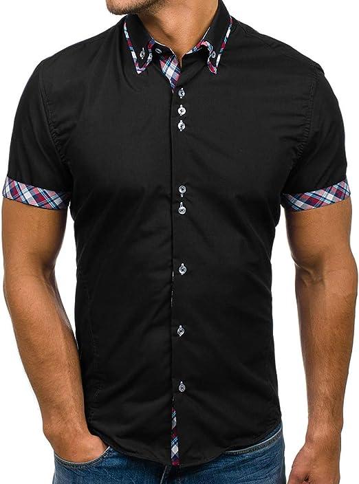 Mens Contrast Collar Short Sleeve Button Down Dress Shirt