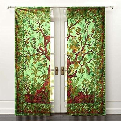 Indian Mandala Cotton Handmade Tree of Life Bohemian Window Door Curtains Drapec