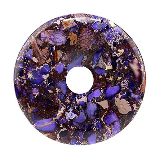 Jasper Pendant Beads Necklace (50mm Gemstone Dyed Sea Sediment Jasper Reiki Healing Chakra Donut Pendant Bead DIY Jewelry Accressory Necklace Kit (Purple & pyrite))