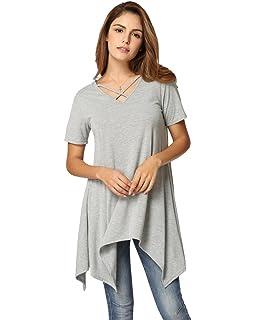 c44fd401ecd8 Anself Women Casual Swing T-Shirt Dresses with Pockets Tunic Tank Tops
