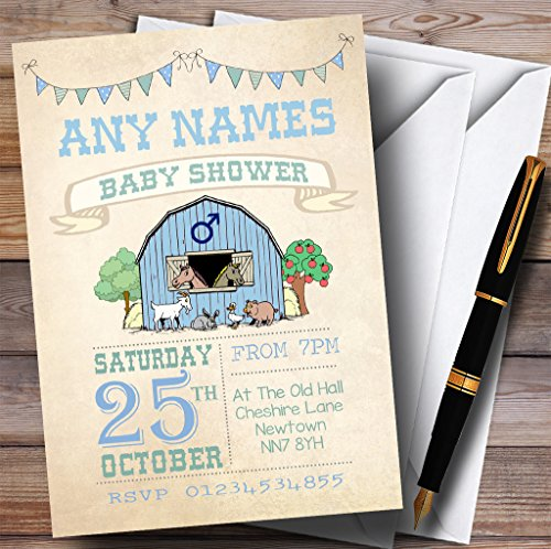 Boys Farm Animals Invitations Baby Shower Invitations by The Card Zoo