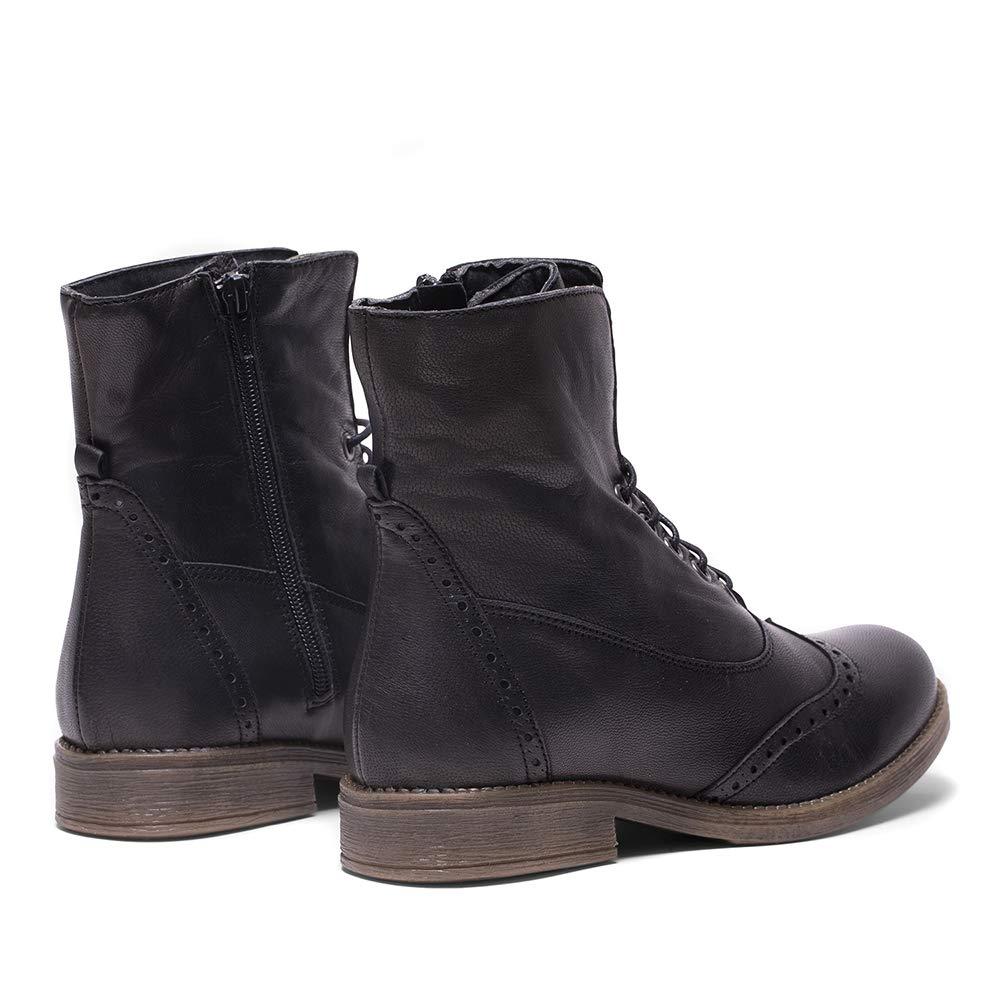 Botines Negros EN Piel para Mujer Estilo Oxford: Amazon.es: Zapatos y complementos