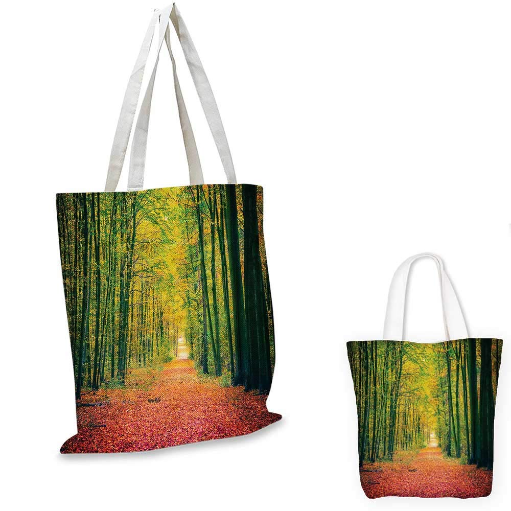 Forest canvas messenger bag Seasonal Foliage Leaves Bushes in Autumn Colors Countryside Pathway in Forest canvas beach bag Yellow Brown 12x15-10
