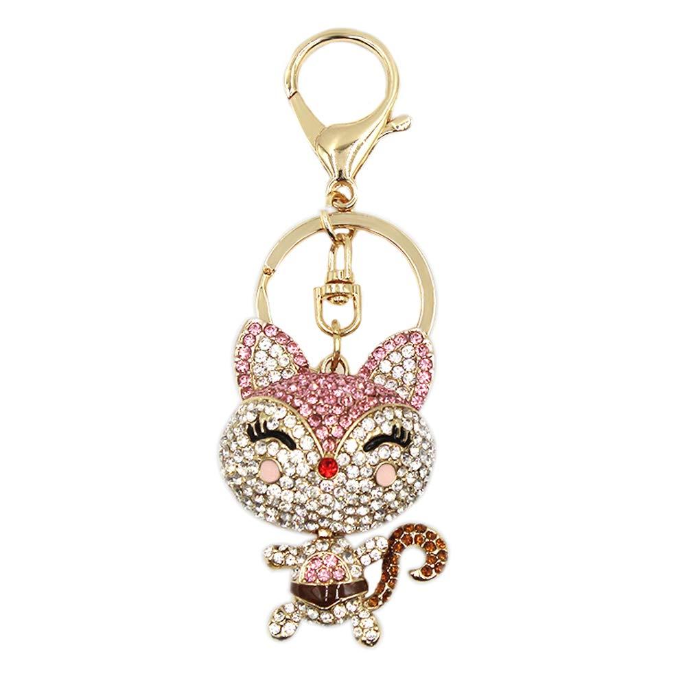 Cute Fox Rhinestone Keychain Bling Keyring Women Bag Purse Charm Pendant Gift by leomoste (Image #2)
