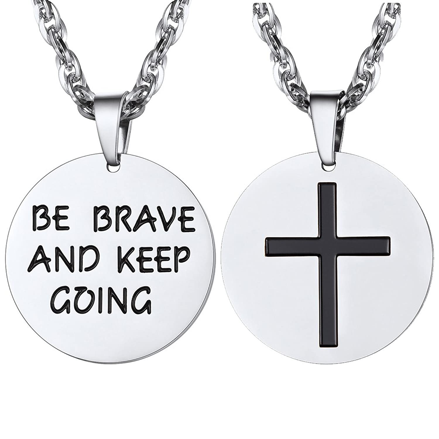 Cross Inspirational Necklace,Be Brave And Keep Going,Mens Womens Jewelry
