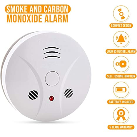 Combination Photoelectric Smoke Alarm and Carbon Monoxide Detector, Protect Your Home from Fire and Gas Leaks, Even When Youre Away, 9V Battery ...