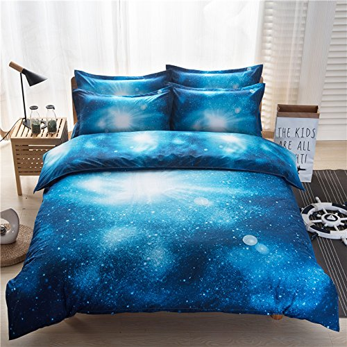 HOMIGOO Galaxy Printed Bedding Set Soft Comforter Cover 3D Printed Bed Sheet Set Full Color A