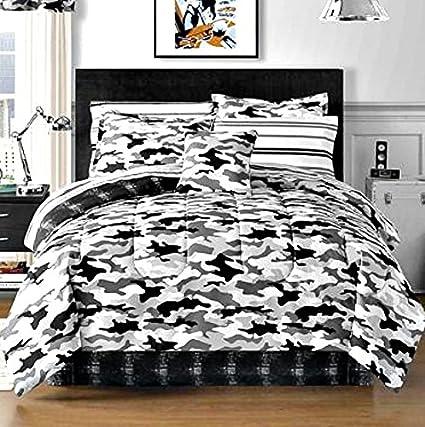 Amazon.com: Camouflage Bedding Boys Teen Black Gray White Camo