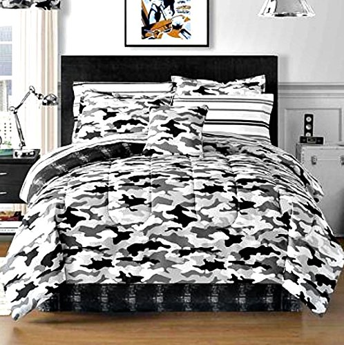 Teen Boys Black Gray Camouflage Twin Camo Comforter Sheets Shams Bedskirt Bedding Set