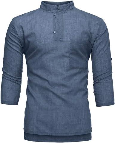 Camisa De Lino De Casual Verano Camisa 3 4 Mode De Marca Mangas Camisa De Lino De Color Sólido De Verano De Moda Tops De Personalidad Camisa De Ajuste Regular Casual Camisa: