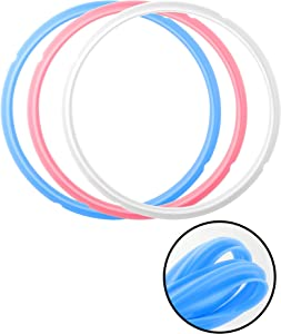 Sealing Ring for 6 Quart Instant Pot, 3 Pack Food Grade Silicone Sealing Ring, Pressure Cooker Accessories Replacement Gasket for Insta Pot (Clear Blue Pink) (Clear Blue Pink)