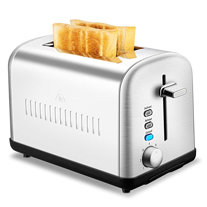 2 Slice Toaster, CUSINAID Extra Wide Slot Toasters 2 Slice 7 Brown Settings and Removable Crumb Tray, Stainless Steel Toasters, Silver best toasters