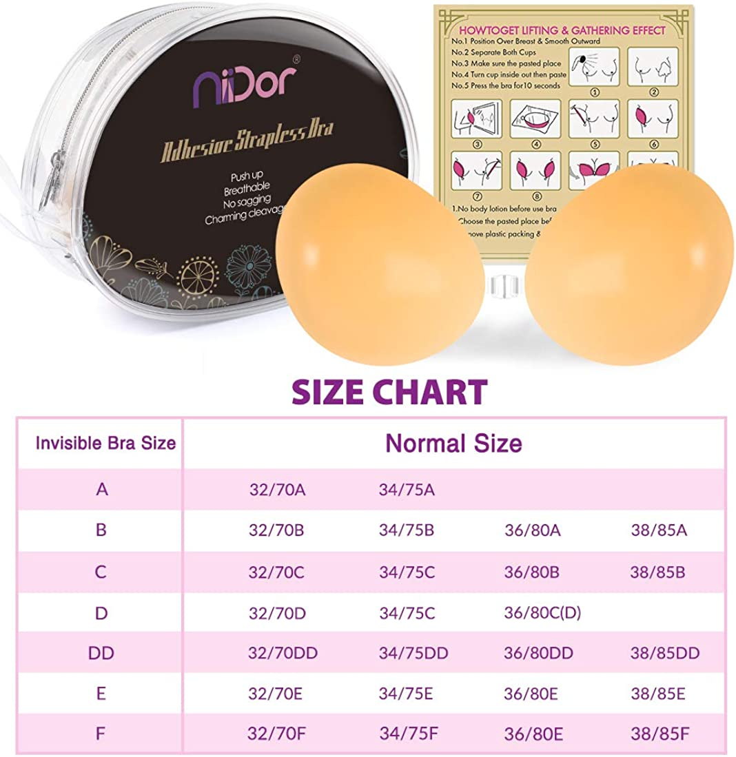 Niidor Adhesive Bra Strapless Sticky Invisible Push up Silicone Bra for Backless Dress with Nipple Covers