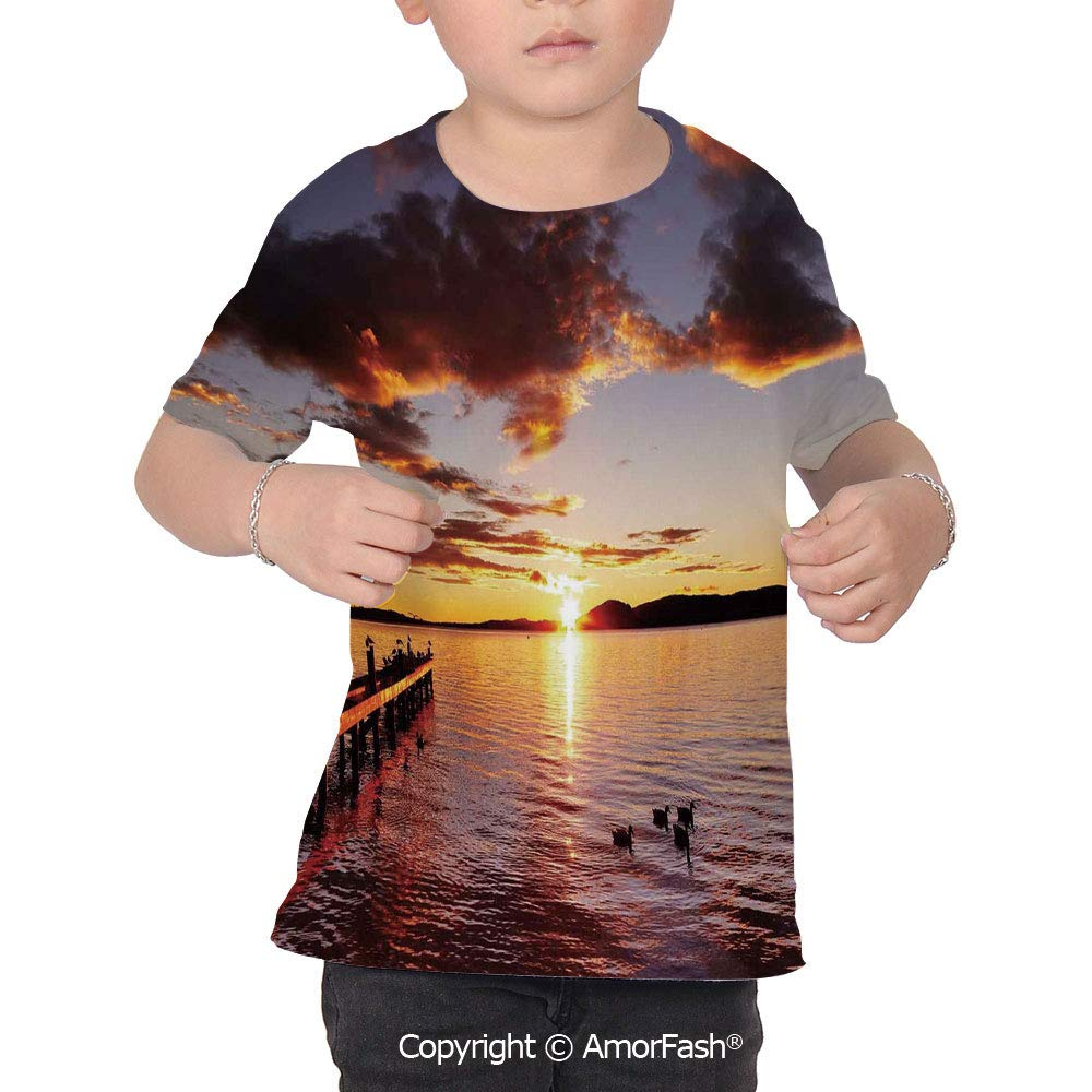 INTERESTPRINT Sunrise on The Island Youth T-Shirts XS-XL