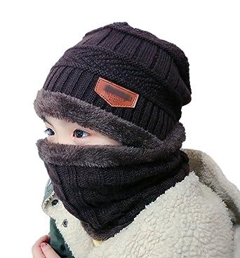 ECHERY Unisexe Enfants Slouchy Chaud Bonnet De Ski De Neige De Chapeau Echarpe  Ensemble Garçons Filles Hiver Tricot Calotte Café  Amazon.fr  Vêtements et  ... a4035cfc7c8