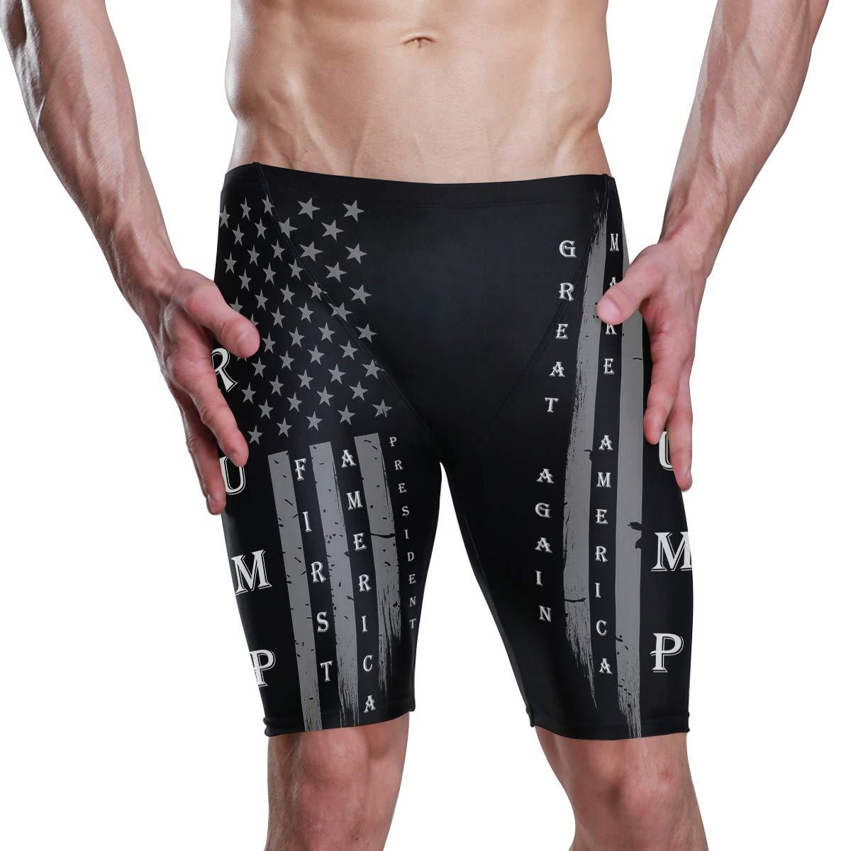 Mens Trump MAGA Make America Great Again First Vintage USA Flag Jammer Quick Dry Sport Swim Suit Swim Trunks