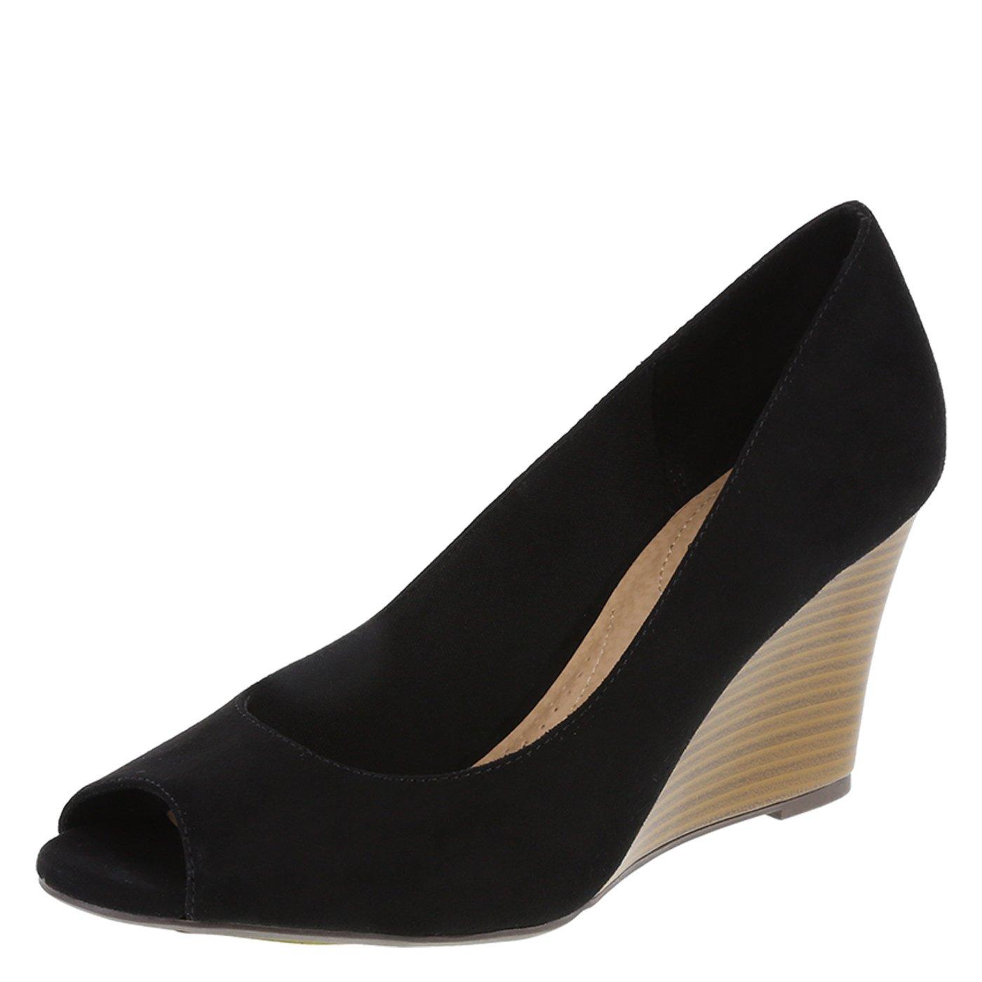dexflex Comfort Black Suede Women's Kylee Peep-Toe Wedge 5 Wide