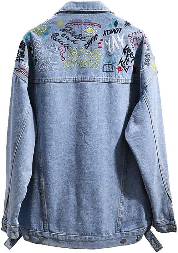 OLQ.CO Vintage Bordado Denim Mujeres 90S Celeste Camiones Grandes Jean Mujer Basic Chaquetas y Abrigos: Amazon.es: Ropa y accesorios