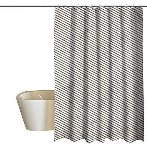 RenteriaDecor Shower Curtains Brown and White Retro,Narrow Stripes Geometric,W55 x L84,Shower Curtain for Girls Bathroom