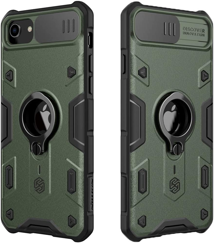 Mangix iPhone SE 2020 Case,CamShield Armor Case with Slide Camera Cover, PC & TPU Impact-Resistant Bumpers Protective Case with Ring Kickstand for Apple iPhone SE 2020/8/7 4.7inch (Green)