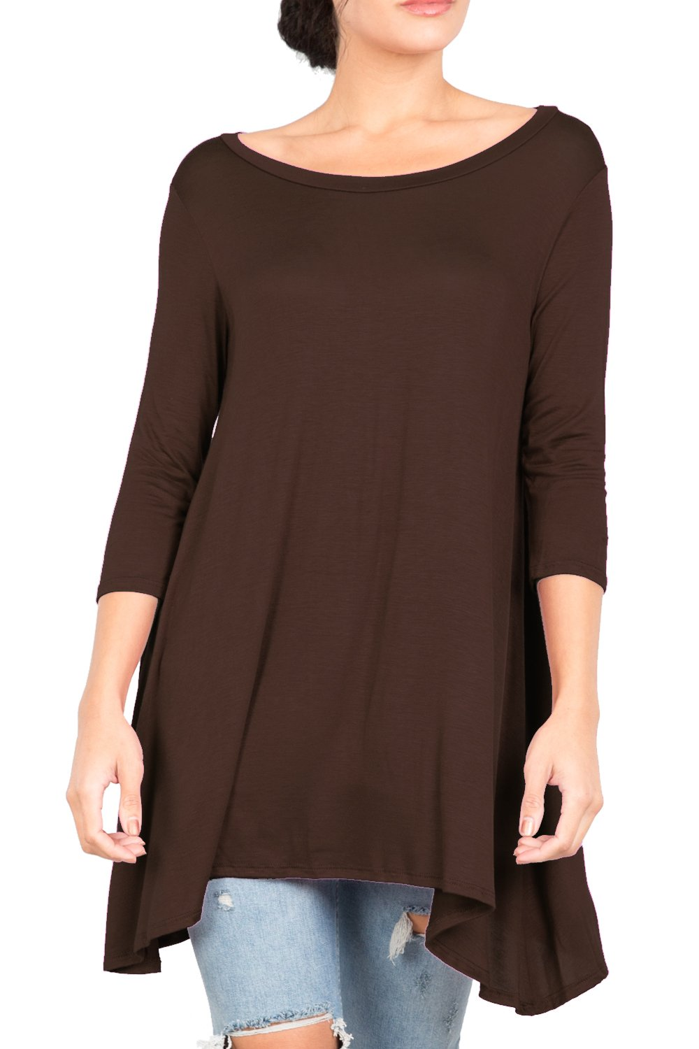 Love In T2411 3/4 Sleeve Round Neck Relaxed A-Line Tunic T Shirt Top Brown M