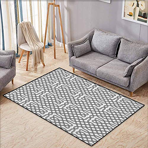Indoor/Outdoor Rug,Celtic,Horizontal Knotted Celtic Motif Textured with Heraldic South Scandinavian Graphic,Anti-Slip Doormat Footpad Machine Washable,3'11