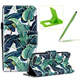 Strap Leather Case for Huawei Y6 2018,Flip Portable Carrying Case for Huawei Y6 2018,Herzzer Premium Stylish Banana Leaves Printed Foldable Full Body Folio Pu Leather Stand Cover with Card Slots
