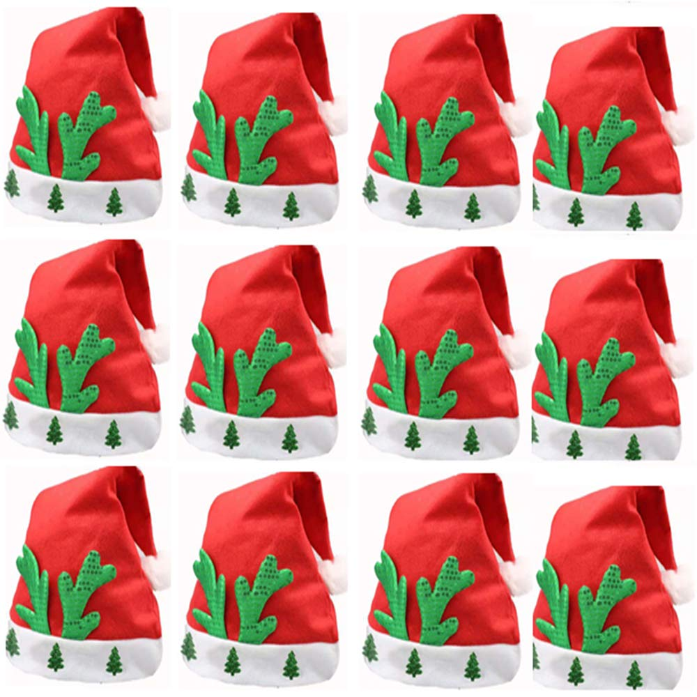Buonissimo Santa Hat Christmas Hat Classic Christmas Decoration Best Gift Christmas Party Festive 12PCS