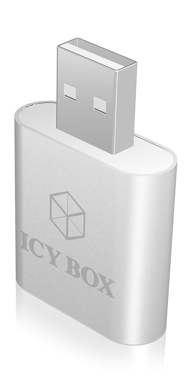 Adapter Aluminiumgeh/äuse silber Icy Box IB-AC527 Externe USB-Soundkarte // USB zu Kopfh/örer /& Mikrofon 2x 3,5 mm