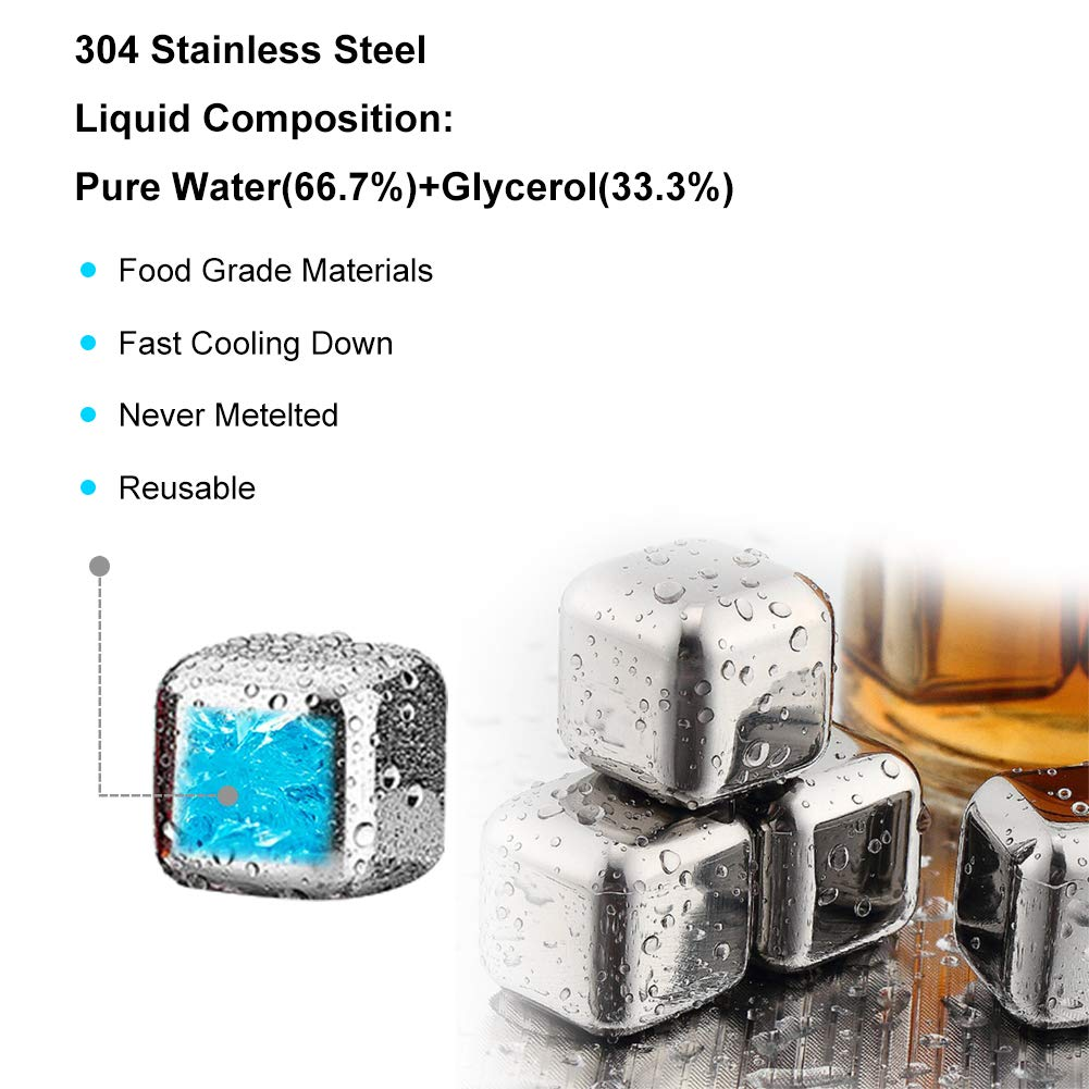 Ice Tongs High Cooling Technology Reusable Ice Cubes Great Gift for Men Stainless Steel Whisky Stones Gift Set 8 Pcs Whisky Ice Stones