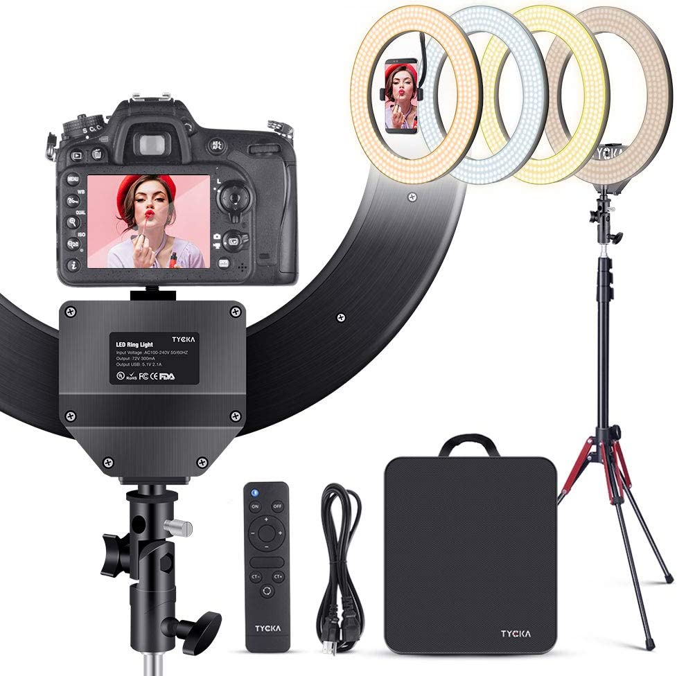 TYCKA 18 inch Ring Light Kit with Tripod Stand Phone Holder 480 LEDs Ringlight Aluminum Alloy Lampshade LED Selfie Ring Light Kit for Phone Camera Shooting YouTube Makeup, 4 Color Modes 10 Brightness