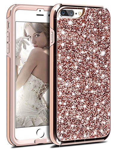 iPhone 8 Plus Case, Vofolen iPhone 8 Plus Case Glitter Bling Crystal Shiny Heavy Duty Protection Dual Layer Hybrid Protective Shell Soft TPU Bumper Armor Hard Cover for iPhone 8 Plus 7 Plus -Champagne (Bling Iphone)