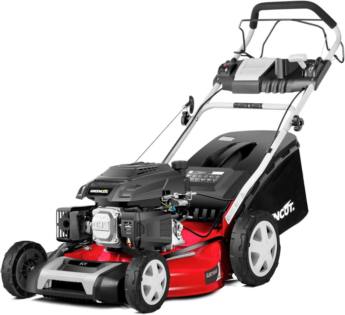 GREENCUT GLM770XE - Cortacésped autopropulsado de gasolina 165cc y 6cv con arranque Eléctrico y ancho de corte 483mm (19