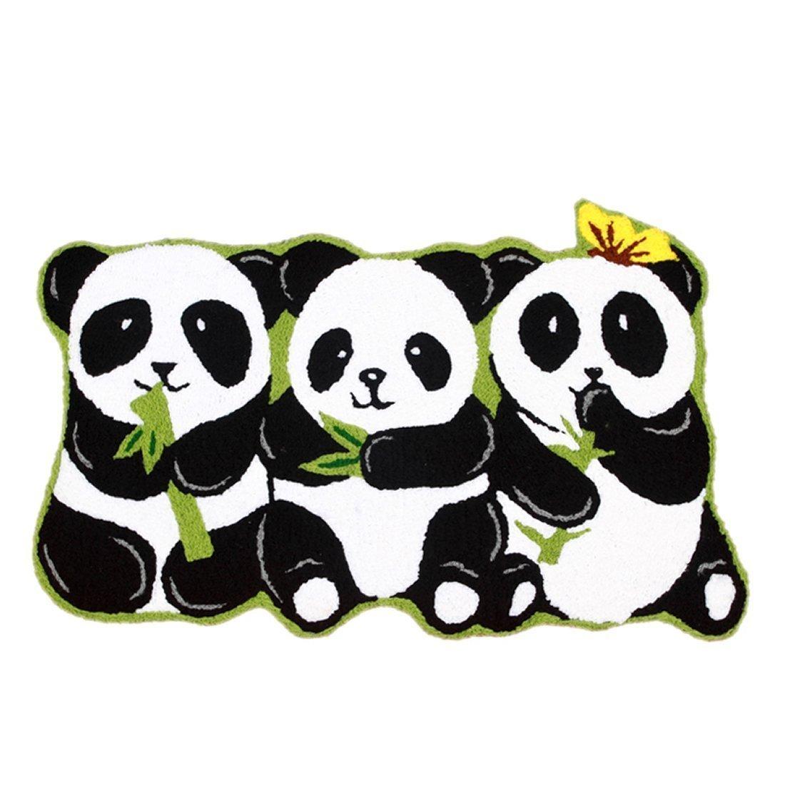 Ustide 3 Pandas Rug Handmade Rugs Non-slip Floor Mats for Bathroom Animal Rug for Kids Small, 19''x31'' by USTIDE