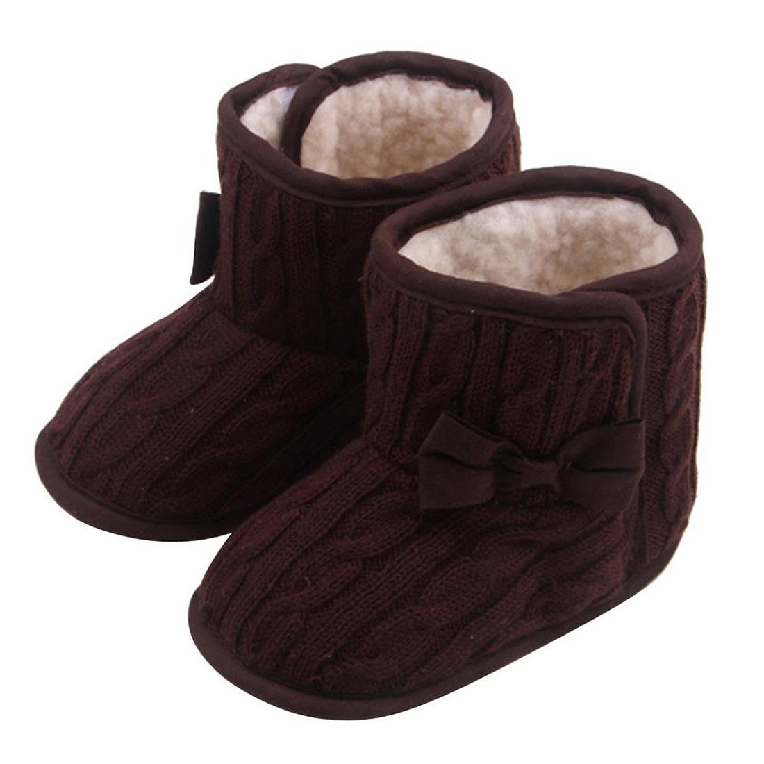 SODIAL Chaussures Pour Bebe decorees de Noeud de Papillon des Semelles Souples Chaussures D'Hiver Chaud Bottes de Chaussures (Cafe, 11cm)