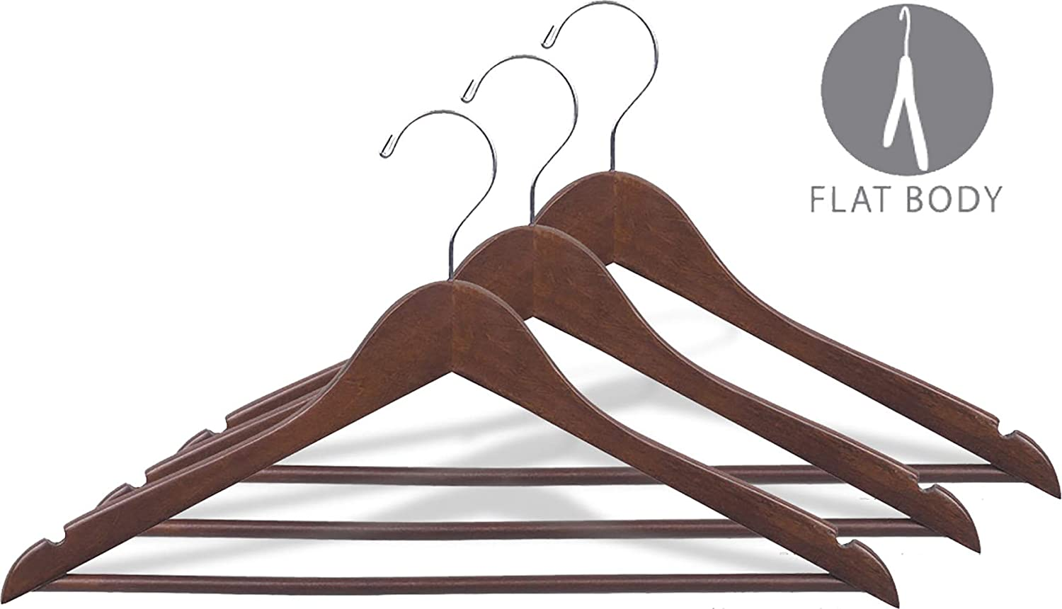 Rubberized Wooden Suit Hanger with Walnut Finish and Solid Wood Bar 17 Inch Flat Rubber Coated Hangers with Chrome Hook /& Notches Set of 100 by The Great American Hanger Company 250122-100
