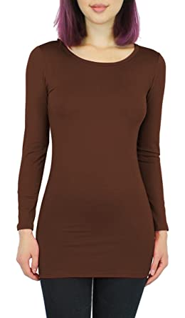 77e39d7f8108 Basic Damen Langarmshirt Thermo Longshirt Frauen angeraut Innenfutter  Langarm T-Shirt Shirtkleid - 10