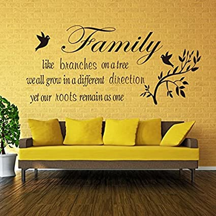 Decals Design Family Like Branches Wall Quote Wall Sticker (PVC Vinyl, 70 cm x 50 cm, Black)