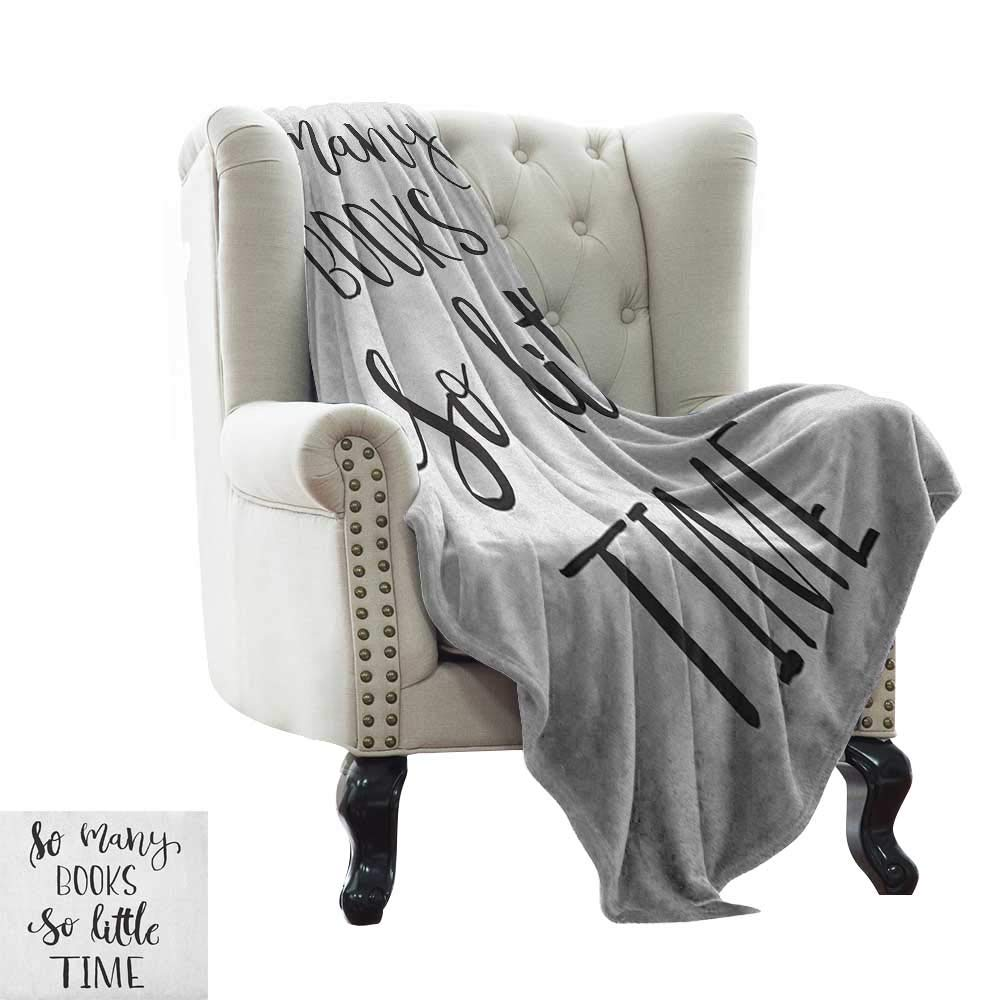 color08 60 x78  Inch BelleAckerman Couch Blanket Book,Cartoon Style Hand Drawn Girl Sitting with a Book and Cat Glasses Crown Happy Cat, Black White Comfortable Soft Material,give You Great Sleep 50 x60