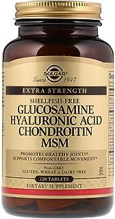 Suplemento en tabletas con glucosamina, ácido hialurónico, chondroitin y MSM Solgar 120 unidades