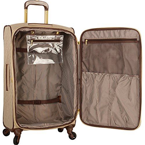 """Anne Klein 21"""" Expandable Softside Spinner Carryon Luggage, Tan Quilted"""