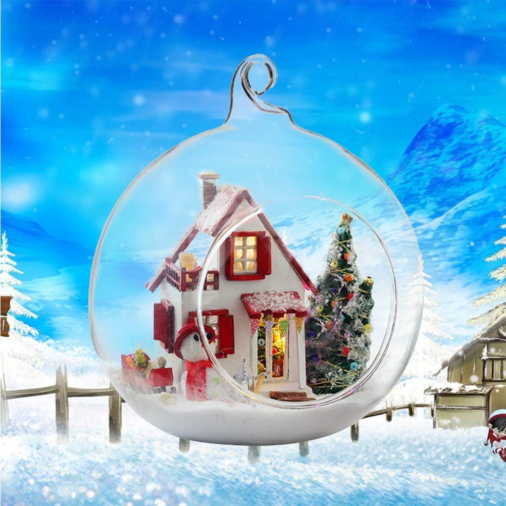 VORCOOL Maison de poup/ée Miniature DIY House Kit Assemblage /À La Main Mod/èle De No/ël Glassball Room avec Meubles Standard