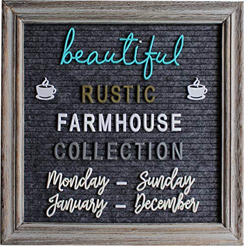 (Rustic Gray Felt Letter Board Farmhouse Bundle Letter Set Changeable Message Board with Vintage Antique Style Frame and Stand 10x10 Inches 700+ Alphabet Letters Numbers Icons Cursive (Gray Frame))