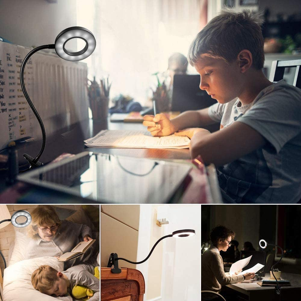 24 LED Bed Clip Light Reading Lamp Clip-on Desk Lamp USB Dimmable 10 Brightness Levels 3 Color Temperatures Table Light 360 /° Flexible Clamp Lamp Eye-Care Book Light Bed Lamp for Study Children