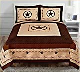 Western Star Barbed Wire Queen Size Quilt and Shams 3PC Set