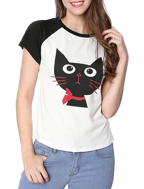 Allegra K Camiseta con Estampado De Gato De Dibujos Animados con Mangas  Cortas Raglán En Color De Contraste para Mujer  Amazon.es  Ropa y accesorios 042697c533ddd