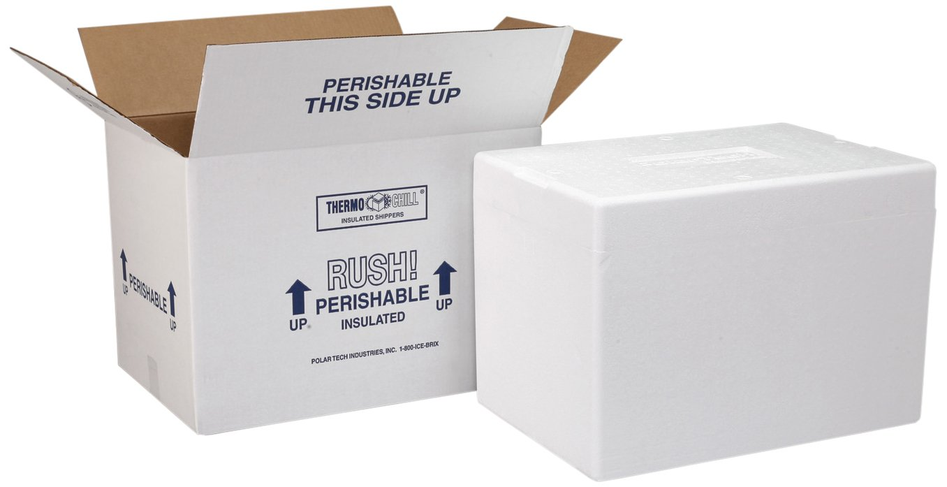 Polar Tech Thermo Chill 266/J56C Large Insulated Foam Container, 19'' Length x 12'' Width x 16'' Depth